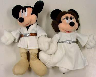 STAR WARS USA ディズニーテーマパーク限定 LUKE MICKY & LEIA MINNIE ぬいぐるみ 2種セット