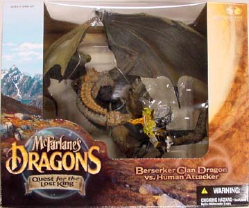 McFARLANE McFARLANE'S DRAGONS SERIES 1 DX BOX BERSERKER CLAN DRAGON VS. HUMAN ATTACKER