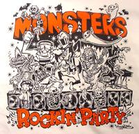 ASTRO ZOMBIES /MONSTERS ROCKIN' PARTY ラグランTシャツ(オレンジ)/ ILLUST BY HIRO★GRIM