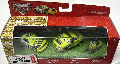 THE WORLD OF CARS RACE O RAMA 3-CAR GIFT PACK LEAK LESS & CHIEF LEAK LESS & LEAK LESS PITTY