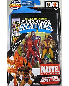 HASBRO MARVEL UNIVERSE COMIC PACKS SECRET WARS WOLVERINE & HUMAN TORCH