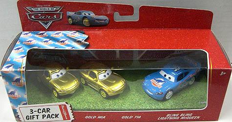 THE WORLD OF CARS RACE O RAMA 3-CAR GIFT PACK GOLD MIA & GOLD TIA & BLING BLING LIGHTNING McQUEEN