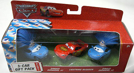 THE WORLD OF CARS RACE O RAMA 3-CAR GIFT PACK DINOCO SHOWGIRL #1 & LIGHTNING McQUEEN & DINOCO SHOWGIRL #2