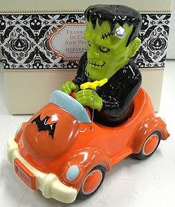 DEPARTMENT 56 FRANKENSTEIN IN CAR SALT AND PEPPER SET