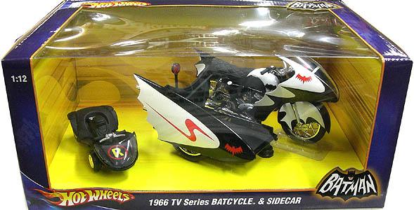 マテル ホットウィール 1/12スケール 1966年 TV版 バットサイクル&サイドカー ダイキャストミニカー