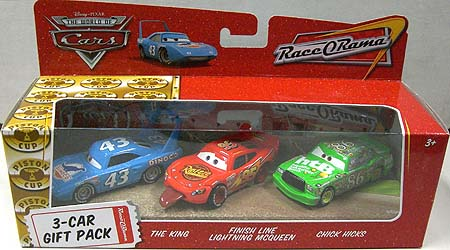 THE WORLD OF CARS RACE O RAMA 3-CAR GIFT PACK THE KING & FINISH LINE LIGHTNING McQUEEN & CHICK HICKS