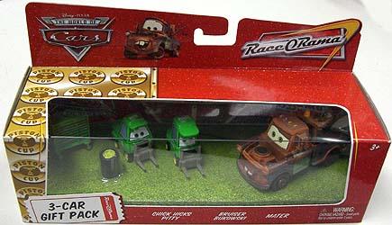 THE WORLD OF CARS RACE O RAMA 3-CAR GIFT PACK CHICK HICKS PITTY & BRUISER BUKOWSKI & MATER