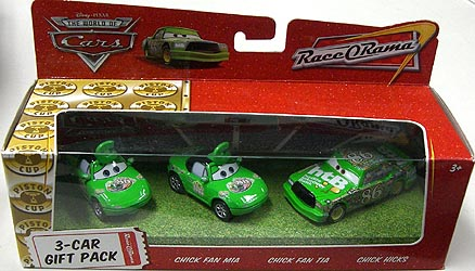 THE WORLD OF CARS RACE O RAMA 3-CAR GIFT PACK CHICK FAN MIA & CHICK FAN TIA & CHICK HICKS