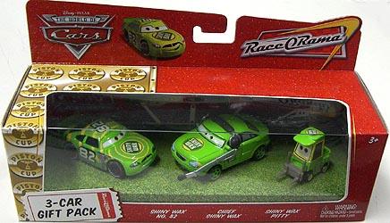 THE WORLD OF CARS RACE O RAMA 3-CAR GIFT PACK SHINY WAX NO.82 & CHIEF SHINY WAX & SHINY WAX PITTY