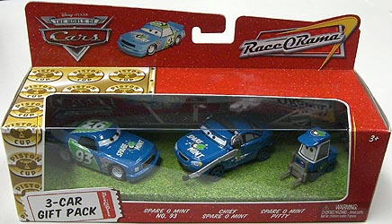 THE WORLD OF CARS RACE O RAMA 3-CAR GIFT PACK SPARE O MINT NO.93 & CHIEF SPARE O MINT & SPARE O MINT PITTY