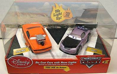 THE WORLD OF CARS USAディズニーストア限定 DIE CAST CARS WITH NEON LIGHTS SNOT ROD & BOOST