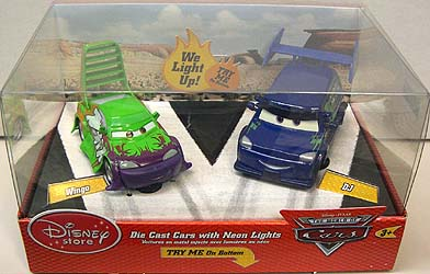 THE WORLD OF CARS USAディズニーストア限定 DIE CAST CARS WITH NEON LIGHTS WINGO & DJ