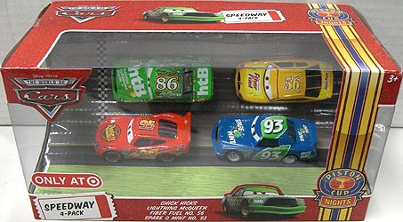 THE WORLD OF CARS USA TARGET限定 PISTON CUP NIGHTS SPEEDWAY 4PACK CHICK HICKS & LIGHTNING McQUEEN & FIBER FUEL NO.56 & SPARE O MINT NO.93