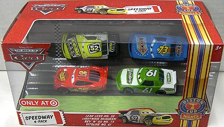 THE WORLD OF CARS USA TARGET限定 PISTON CUP NIGHTS SPEEDWAY 4PACK LEAK LESS NO.52 & LIGHTNING McQUEEN & REV 'N' GO NO.73 & VITOLINE NO.61