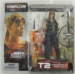 McFARLANE MOVIE MANIACS 5 TERMINATOR 2 SARAH CONNOR 髪おろし ブリスターヤケ特価