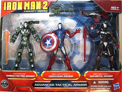 HASBRO 映画版 IRON MAN 2 3.75インチ CONCEPT SERIES ADVANCED TACTICAL ARMOR 3PACK