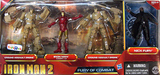 HASBRO 映画版 IRON MAN 2 3.75インチ USA TOYSRUS限定 MOVIE SERIES FURY OF COMBAT 4PACK