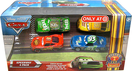 MATTEL CARS 2010 USA TARGET限定 PISTON CUP NIGHTS SPEEDWAY 4PACK CHICK HICKS & LIGHTNING McQUEEN & FIBER FUEL NO.56 & SPARE O MINT NO.93