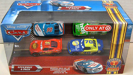 MATTEL CARS 2010 USA TARGET限定 PISTON CUP NIGHTS SPEEDWAY 4PACK BUMPER SAVE NO.90 & LIGHTNING McQUEEN & CHICK HICKS & GASPRIN NO.70
