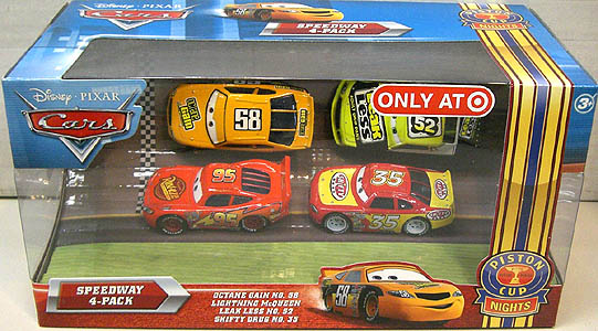 MATTEL CARS 2010 USA TARGET限定 PISTON CUP NIGHTS SPEEDWAY 4PACK OCTANE GAIN NO.58 & LIGHTNING McQUEEN & LEAK LESS NO.52 & SHIFTY DRUG NO.35