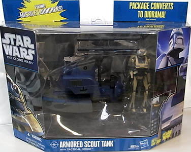 HASBRO STAR WARS THE CLONE WARS ARMORED SCOUT TANK WITH TACTICAL DROID