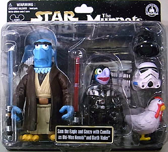 STAR WARS USA ディズニーテーマパーク限定 フィギュア THE MUPPETS 2PACK SAM THE EAGLE AND GONZO AS OBI-WAN KENOBI AND DARTH VADER 台紙破れ特価