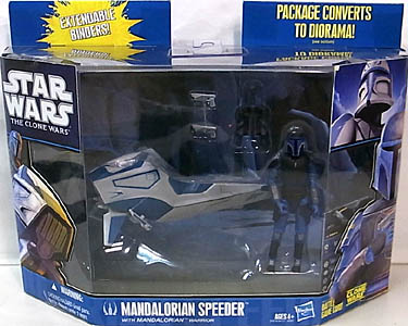 HASBRO STAR WARS THE CLONE WARS MANDALORIAN SPEEDER WITH MANDALORIAN WARRIOR