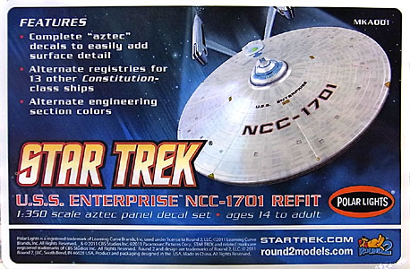 POLAR LIGHTS 1/350スケール STAR TREK U.S.S. ENTERPRISE NCC-1701A アズテックデカールセット
