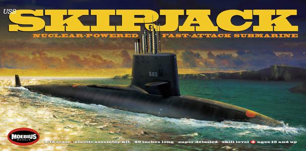 メビウスモデル 1/72スケール アメリカ海軍 原子力潜水艦 USSスキップジャック 組み立て式プラモデル