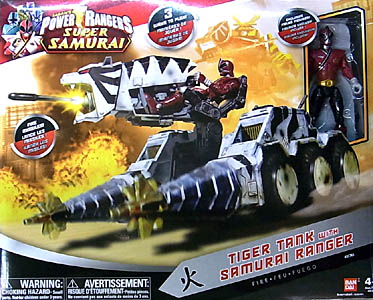 USA BANDAI POWER RANGERS SUPER SAMURAI TIGER TANK WITH SAMURAI RANGER