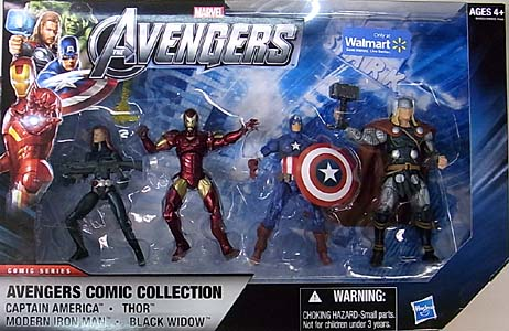 HASBRO 映画版 THE AVENGERS USA WALMART限定 3.75インチ COMIC SERIES 4PACK AVENGERS COMIC COLLECTION [CAPTAIN AMERICA 入り] パッケージ傷み特価