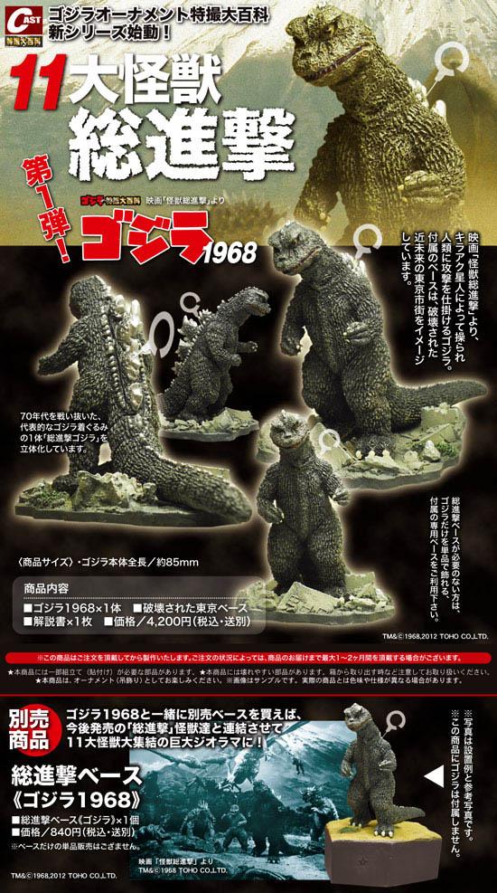 キャスト ゴジラ オーナメント 特撮大百科 大怪獣総進撃編 ゴジラ 1968 + 総進撃ベース