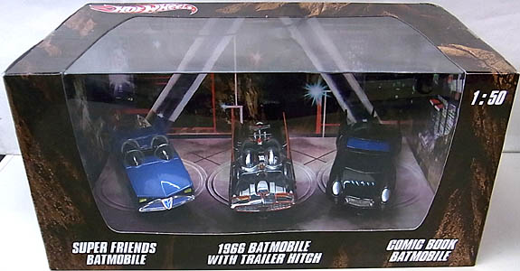 MATTEL HOT WHEELS BATMAN 1/50スケール BATMOBILE 2012 3PACK [SUPER FRIENDS BATMOBILE , 1966 TV SERIES BATMOBILE WITH TRAILER HITCH , COMIC BOOK BATMOBILE]