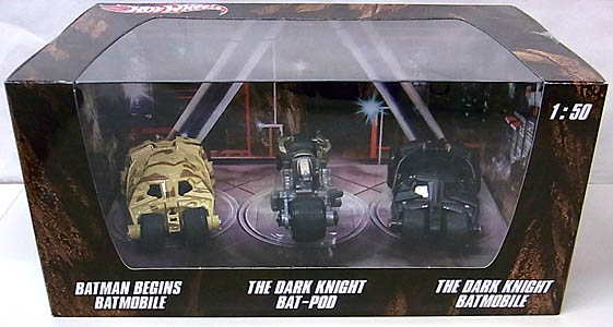 MATTEL HOT WHEELS BATMAN 1/50スケール BATMOBILE 2012 3PACK [BATMAN BEGINS BATMOBILE , THE DARK KNIGHT BAT-POD , THE DARK KNIGHT BATMOBILE]