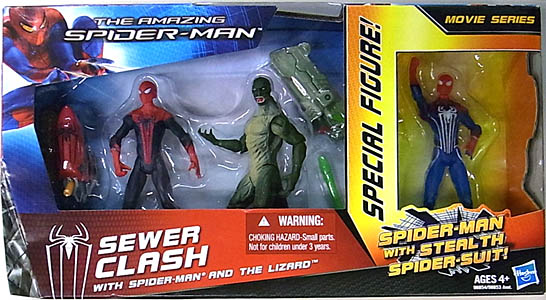 HASBRO 映画版 THE AMAZING SPIDER-MAN 3.75インチ MOVIE SERIES SEWER CLASH 3PACK パッケージ傷み特価