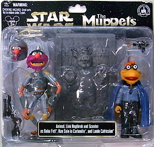STAR WARS USA ディズニーテーマパーク限定 フィギュア THE MUPPETS 2PACK ANIMAL , LINK HOGTHROB AND SCOOTER AS BOBA FETT , HAN SOLO IN CARBONITE , AND LANDO CALRISSIAN