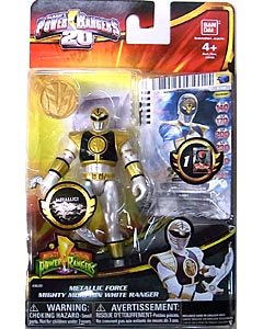 USA BANDAI POWER RANGERS 20TH ANNIVERSARY MIGHTY MORPHIN METALLIC 4インチアクションフィギュア FORCE MIGHTY MORPHIN WHITE RANGER