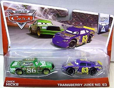 MATTEL CARS 2014 2PACK CHICK HICKS & TRANSBERRY JUICE NO.63