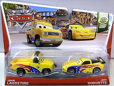 MATTEL CARS 2014 2PACK JOHN LASSETIRE & JEFF GORVETTE 台紙傷み特価