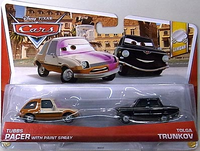 MATTEL CARS 2013 2PACK TUBBS PACER WITH PAINT SPRAY & TOLGA TRUNKOV