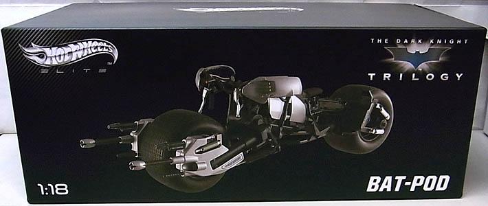 マテル ホットウィール 1/18スケール 映画版バットマン ダークナイトトリロジー バットポッド ダイキャストミニカー エリート版