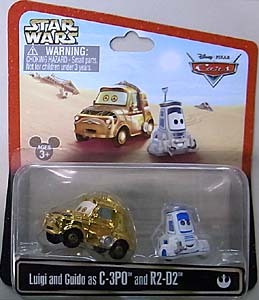 CARS 2013 USAディズニーテーマパーク限定 LUIGI AND GUIDO AS C-3PO AND R2-D2 塗装傷み特価