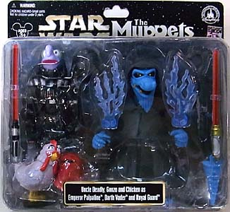 STAR WARS USA ディズニーテーマパーク限定 フィギュア THE MUPPETS 3PACK UNCLE DEADLY , GONZO AND CHICKEN AS EMPEROR PALPATINE , DARTH VADER AND ROYAL GUARD