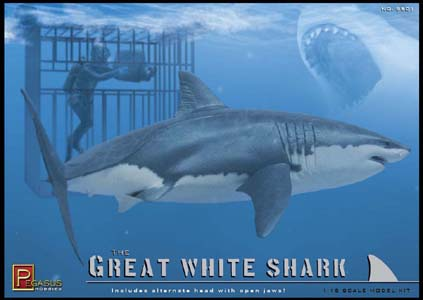 PEGASUS HOBBIES 1/18スケール GREAT WHITE SHARK WITH DIVER & DIVING CAGE 組み立て式モデルキット