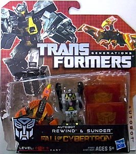 HASBRO TRANSFORMERS GENERATIONS FALL OF CYBERTRON LEGENDS CLASS DATA DISC 2PACK AUTOBOT REWIND & SUNDER
