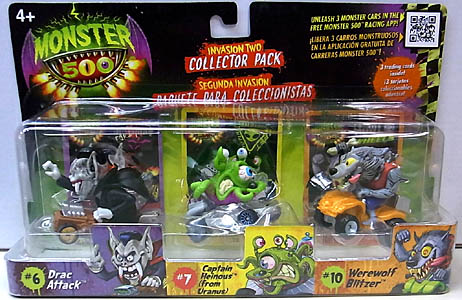 その他・海外メーカー MONSTER 500 SMALL CAR & TRADING CARD 3PACK INVASION TWO [DRAC ATTACK入り]
