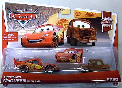 MATTEL CARS 2013 2PACK LIGHTNING McQUEEN WITH SIGN & FRED