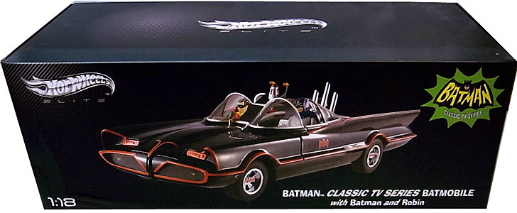 MATTEL HOT WHEELS 1/18スケール BATMAN CLASSIC TV SERIES BATMOBILE WITH BATMAN AND ROBIN [ELITE] パッケージ凹み特価