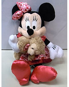 DISNEY USAディズニーテーマパーク限定 2014 VALENTINE 9INCH MINNIE MOUSE WITH DUFFY THE DISNEY BEAR