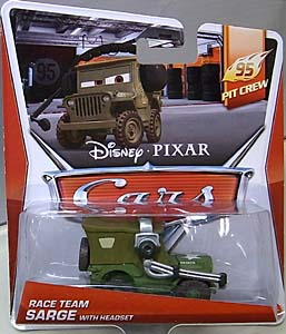 MATTEL CARS 2014 シングル RACE TEAM SARGE WITH HEADSET ブリスター傷み特価